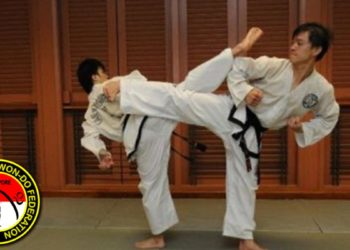 side kick two taekwondo black belt