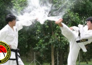 taekwondo demonstration kick black belt water